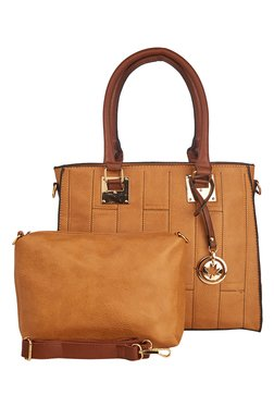 Vero Couture Camel Brown Stitched Shoulder Bag With Pouch