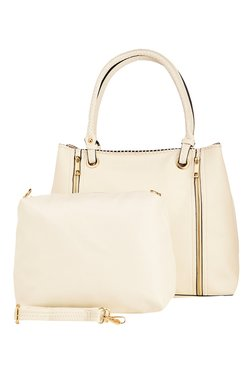 Vero Couture Off-White Panelled Shoulder Bag With Pouch