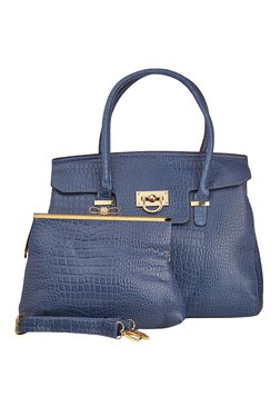 Vero Couture Combo Of Navy Textured Shoulder Bag & Clutch