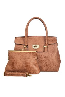 Vero Couture Combo Of Brown Textured Shoulder Bag & Clutch