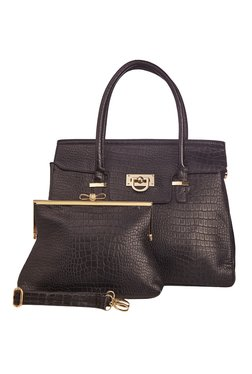 Vero Couture Combo Of Black Textured Shoulder Bag & Clutch