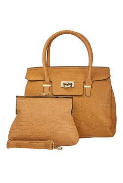 Vero Couture Combo Of Tan Textured Shoulder Bag & Clutch