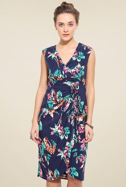 Blue Sequin Navy Floral Printed Sleeveless Dress