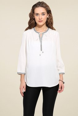 Blue Sequin Off-White 3/4th Sleeves Top