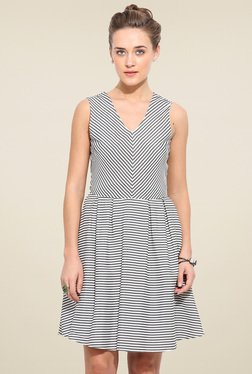 Blue Sequin White & Grey Striped Regular Fit Dress