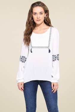 Blue Sequin Off-White Round Neck Top