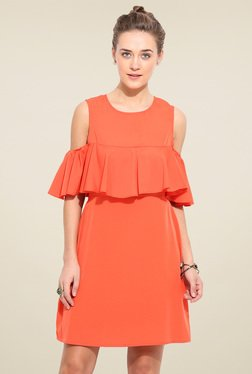 Blue Sequin Coral Red Regular Fit Short Sleeves Dress