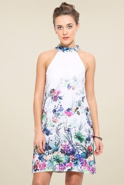 Blue Sequin White Sleeveless Dress