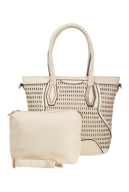 Vero Couture Off-White Laser Cut Shoulder Bag With Pouch