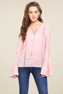 Blue Sequin Light Pink Bell Sleeves Top