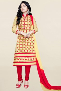 Salwar Studio Yellow & Red Embroidered Cotton Dress Material