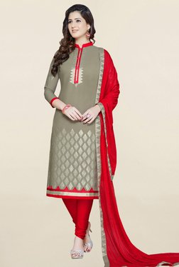 Salwar Studio Grey & Red Embroidered Cotton Dress Material