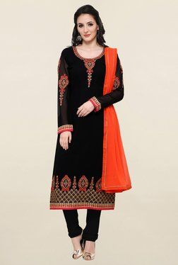 Touch Trends Black Embroidered Georgette Dress Material - Mp000000001266244