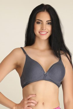 Clovia Grey Cotton Non Padded Bra