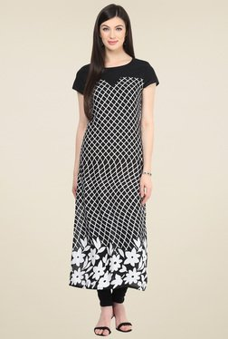 Pannkh Black Printed Short Sleeves Kurti