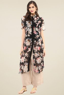 Pannkh Black Short Sleeves Mandarin Collar Kurta