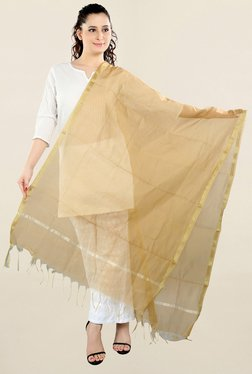 Salwar Studio Beige Solid Chanderi Silk Dupatta