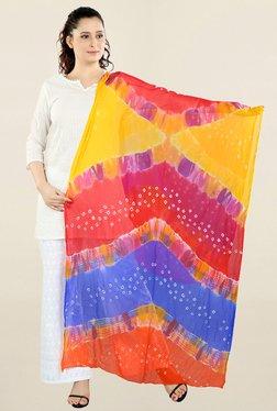 Salwar Studio Multicolor Printed Chiffon Bandhej Dupatta