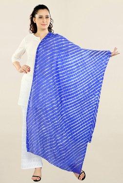 Salwar Studio Blue Printed Chiffon Leheria Dupatta