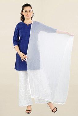 Salwar Studio White Solid Chiffon Dupatta
