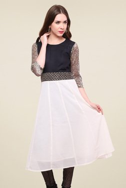 Pannkh Off-White & Black Regular Fit Kurti