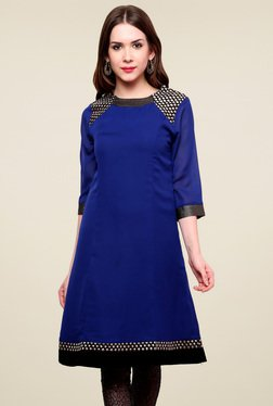 Pannkh Royal Blue Regular Fit Kurti