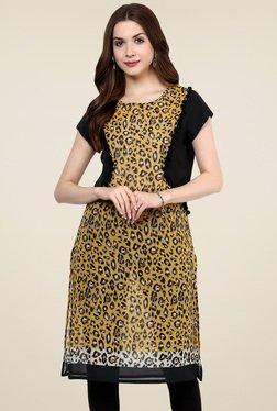 Pannkh Mustard Printed Short Sleeves Kurti