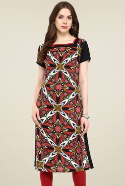 Pannkh Black & Red Printed Regular Fit Kurti