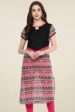 Pannkh Black & Pink Printed Round Neck Regular Fit Kurti