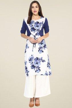 Pannkh White & Navy Floral Printed Kurti