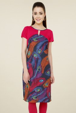 Pannkh Pink Cotton Boat Neck Kurti