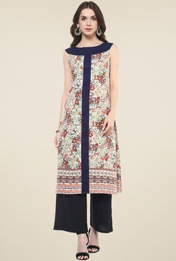 Pannkh Navy & Off-White Regular Fit Kurti