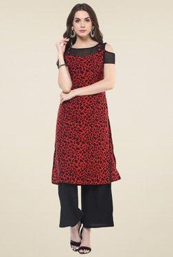 Pannkh Red & Black Regular Fit Printed Kurti