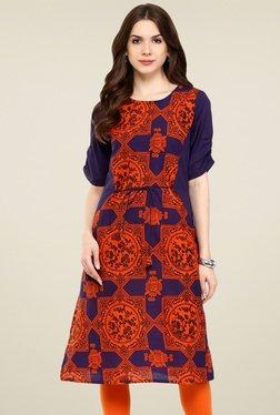 Pannkh Purple & Orange Round Neck Kurti