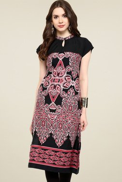 Pannkh Black Printed Cap Sleeves Kurti