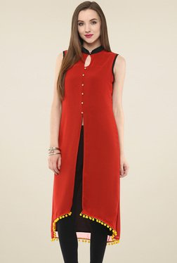 Pannkh Red Sleeveless Kurti