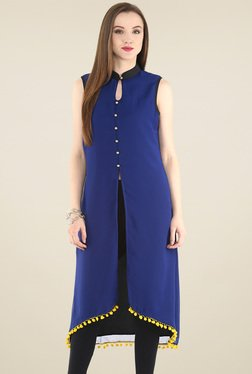 Pannkh Royal Blue Sleeveless Kurti