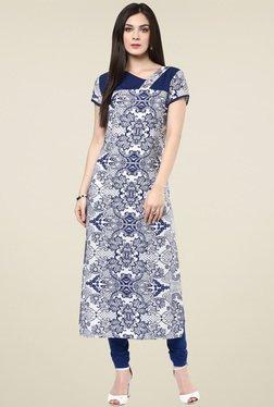 Pannkh Indigo & White Printed Short Sleeves Kurti