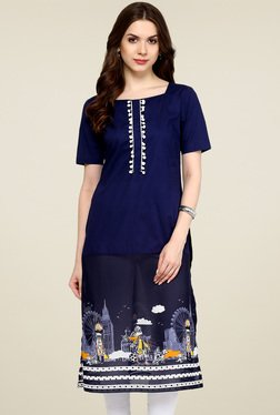 Pannkh Navy & Royal Blue Printed Kurti