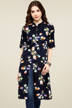 Pannkh Navy Printed Regular Fit Kurti