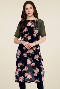 Pannkh Navy & Olive Floral Printed Regular Fit Kurti