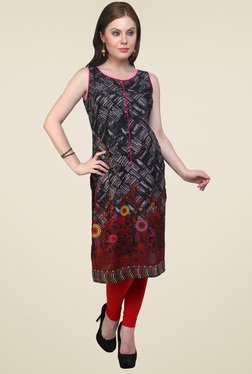 Pannkh Black & Red Sleeveless Kurti