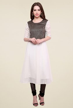 Pannkh Off-White Round Neck Kurti