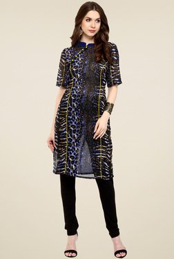 Pannkh Indigo Printed Regular Fit Kurti