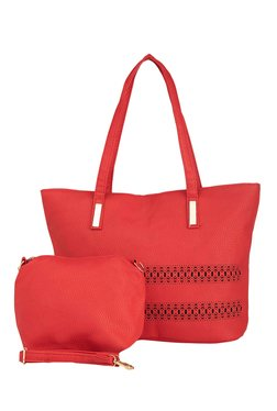 Vero Couture Red Laser Cut Tote With Pouch