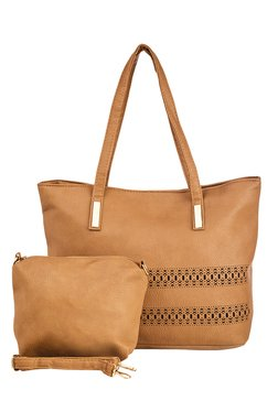 Vero Couture Beige Laser Cut Tote With Pouch