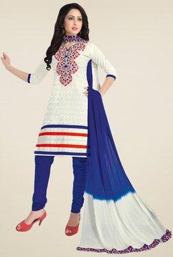Salwar Studio White & Blue Embroidered Dress Material
