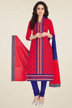 Salwar Studio Red & Blue Embroidered Dress Material
