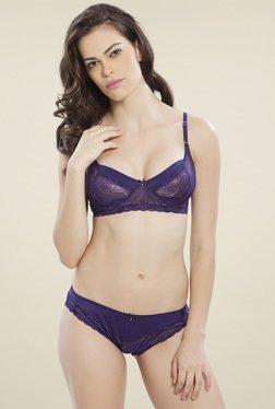 Lady Love Purple Half Coverage Lingerie Set