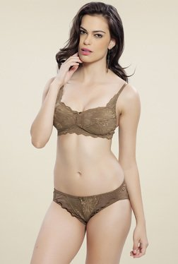 Lady Love Brown Full Coverage Lingerie Set